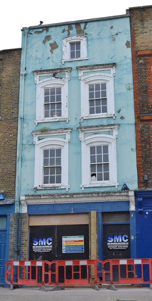 Crumbling blue house, Narrow Street, Limehouse