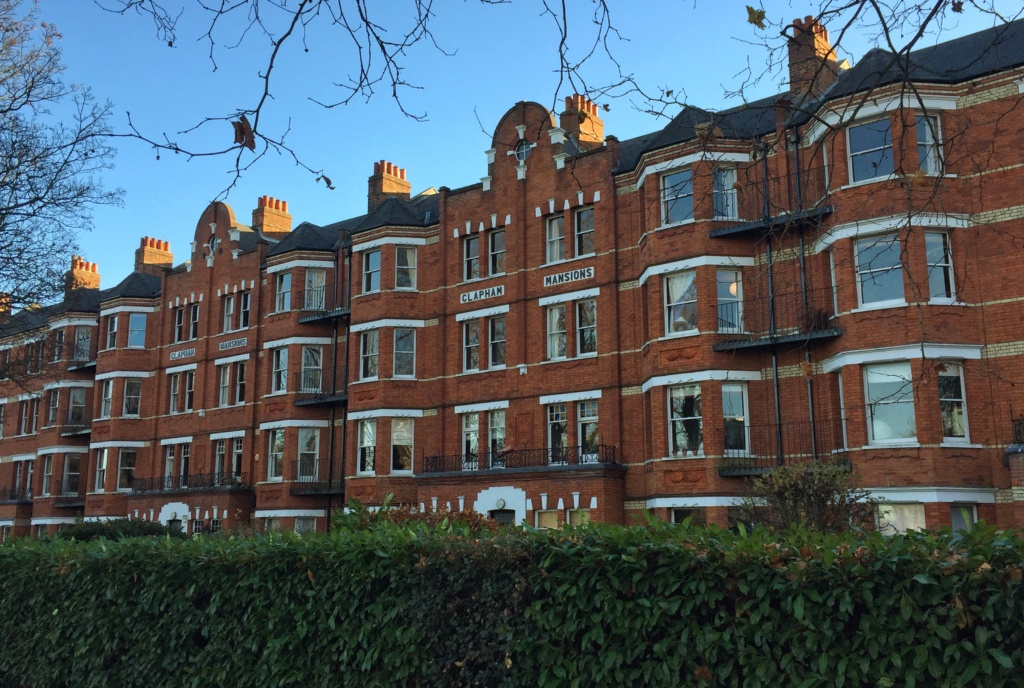 Clapham Mansions from the path